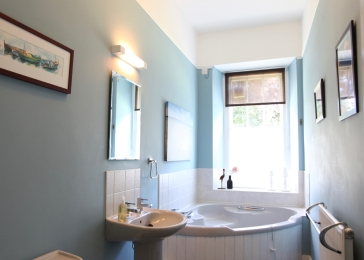 Main bathroom on first floor with garden views
