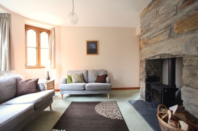 Living room with wood Burner (The Lodge)